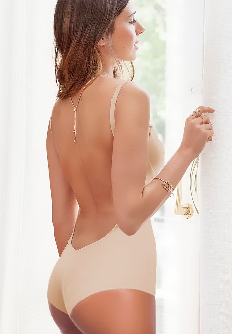 Backless Bridal Bodysuit (Nude)