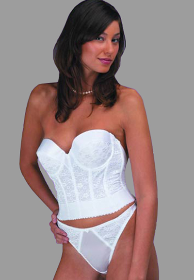 Dominique low back bridal bustier in satin and lace for What undergarments for wedding dress shopping